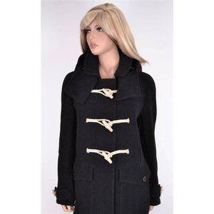 Burberry Brit Wool Long Duffle Toggle Coat Jacket